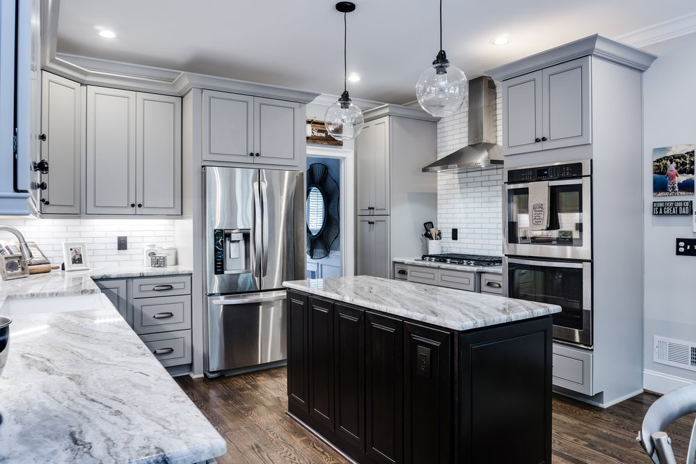 Transitional Kitchen with Tall Ceilings