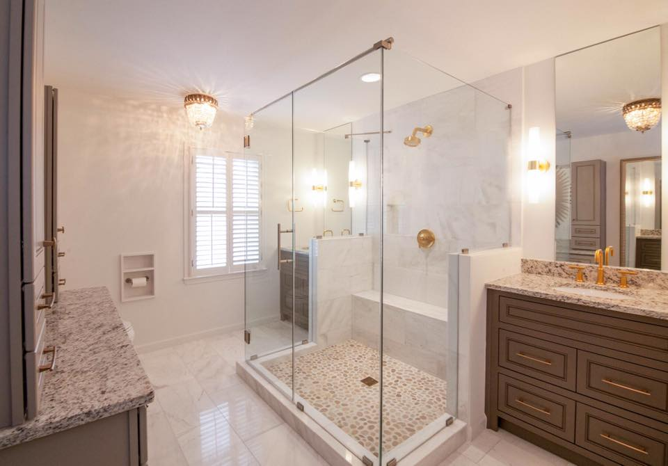 Large Shower Gold Bathroom